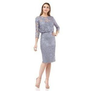 JS Collections Silver Illusion Neck Midi Dress 12